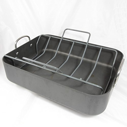 ANOLON Hard Anodized Aluminum Roasting Pan & Rack, 12 x 16-I