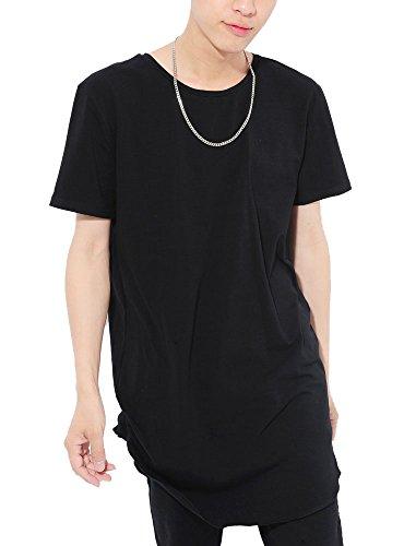 立方体博物館ソフィー(ベストマート) BestMart 選べる 裾デザイン ラウンド ボックス ゆったり ロング丈 無地 カットソー Tシャツ メンズ 621932