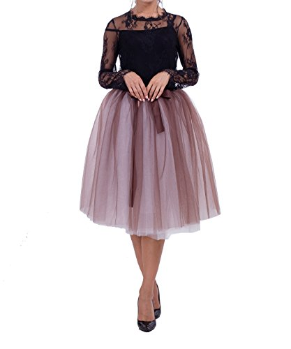 Women Girls 7 Layer Tutu Princess Tulle Midi Skirt 65CM Double Color Elastic Ball Gown (Double Layer Tutu)