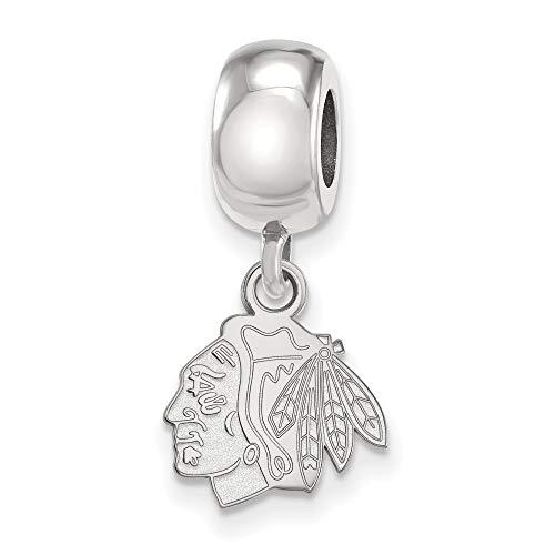 Bonyak Jewelry Sterling S. Rh-p NHL LogoArt Chicago Blackhawks XS Dangle Bead Charm in Sterling