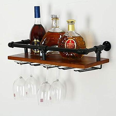 Betty Botelleros Estantes Tubos Colgantes estantería Industrial, Estante para Vino rústico montado Pared con 10 Soportes Vidrio, Soporte para Botellas Vino Barra Flotante Hierro, Estante Pared Madera