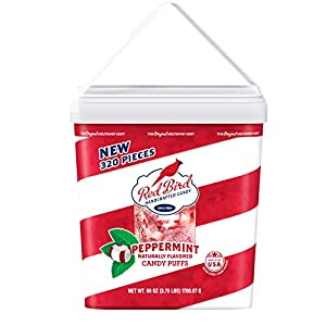 Red Bird Soft Peppermint Candy Puffs 60 Oz Tub Whandle 320 Pieces Gluten Free Kosher Free From Top 8 Allergens Made With 100 Pure Cane Sugar Individually Wrapped Candy by Piedmont Candy Company