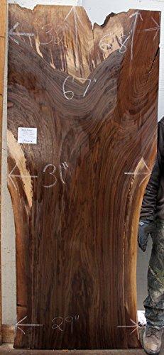 Unique Partial Straight Edge Dining Table Top Natural Black Walnut Raw Wood  Slab Custom Furniture Rustic