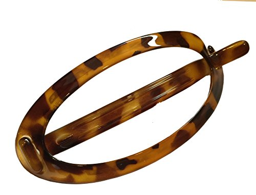 (Parcelona French Plain Oval Simple Large Savana Tortoise Ponytail Holder No Metal Hair Clip Barrette (Light Shell))
