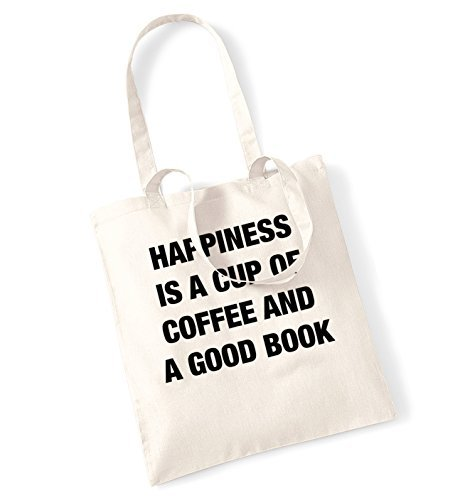 dcdf0a4dc7 Amazon.com - Happiness Is A Cup Of Coffee And A Good Book Tote Bag Funny Canvas  Totes Shopping Bags Shopper Tote Causal Gifts for Women for Men -
