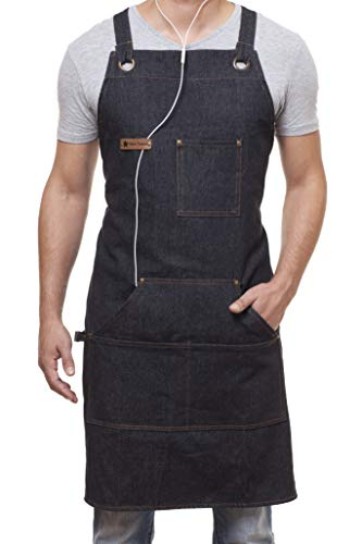 ARAWAK BRAVE Denim Apron for Chef Kitchen BBQ Grill Black Towel Loop + Quick Release Buckle + Tool Pockets Adjustable M to XXL