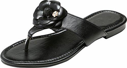 U-lite Women's Emellia Leather Thong Sandals, Casual Beach Flip Flops (Elegant Flip Flops)