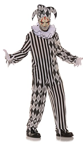 [Evil Harlequin, Multicolor, Teen size] (Twisty The Clown Costume Mask)