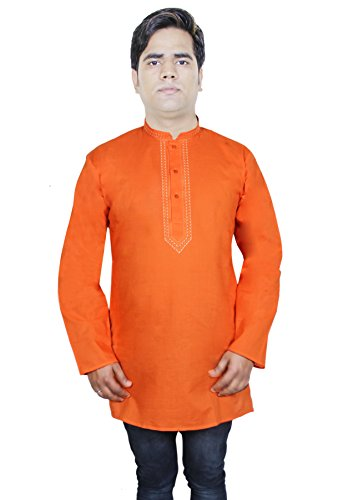 mens-casual-long-sleeve-cotton-kurta-polo-tshirt-indian-clothing-xl-chest-44-inches-orange