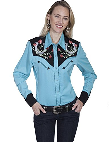 Scully Women's Horseshoe Embroidered Retro Western Shirt Turquoise Large from Scully