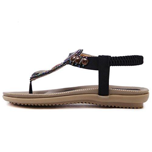 TAOFFEN Mujer Chanclas Sandalias Occidental Slingback Bohemia Zapatos Negro