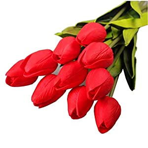 10PCS/LOT high quality PU Stunning Holland mini tulip flower real touch wedding flower artificial flowers silk plants for room home hotel party Event christmas gift decoration multi-color (red) 14