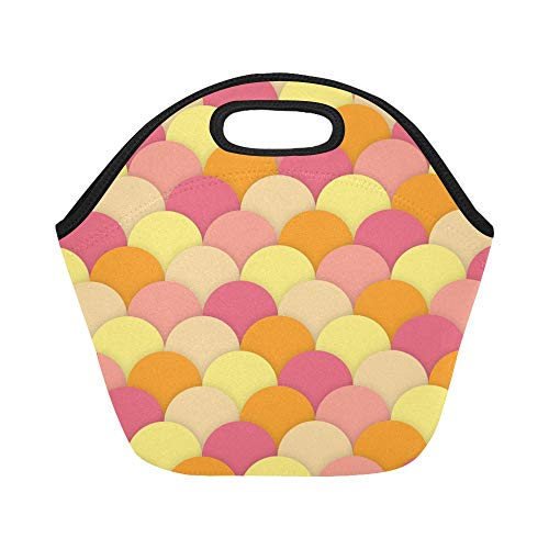Insulated Neoprene Lunch Bag Scallops Texture Square Large Size Reusable Thermal Thick Lunch Tote Bags For Lunch Boxes For Outdoors,work, Office, School