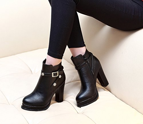 botas tacones mujer botas sencillas botas Martin para RUGAI UE y mesa impermeable cortas botas y de black Mesa invierno altos gruesas gruesas cortas impermeable SBZp0wq