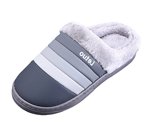 Insun Slippers Para Hombres Invierno Indoor Outdoor Blue Stripes