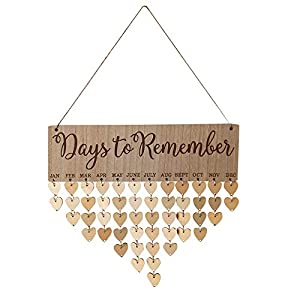 Amaping Wooden Birthday Reminder Chips Hanging Decor Board Birch Plaque Sign Birthday Family &Friends Memo DIY Calendar Christmas New Year Ornament Gifts 10