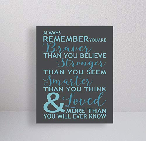 Canvas Always Remember You are Braver Than You Believe Quote Typography Winnie The Pooh Saying Inspirational Gallery Canvas Print 11x14