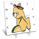 3dRose All Smiles Art Animals - Cute Funny Babay Alpaca eating Taco Cartoon - 6x6 Desk Clock (dc_288152_1)