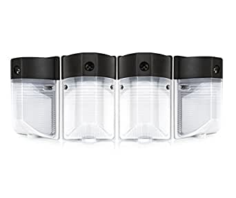 Hyperikon LED 12W Wall Pack Light, PHOTOCELL INCLUDED, 5000K (Crystal White Glow), 100W to 150W HPS / HID equivalent, 1100 Lumens, 120V, Security Area Lighting, UL Listed, Frosted Cover - (Pack of 4)