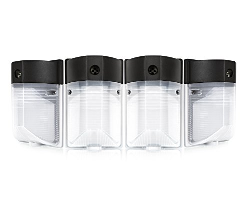 Hyperikon LED 12W Wall Pack Light, PHOTOCELL INCLUDED, 5000K (Crystal White Glow), 100W to 150W HPS/HID equivalent, 1100 Lumens, 120V, Security Area Lighting, UL Listed, Frosted Cover - (Pack of 4)