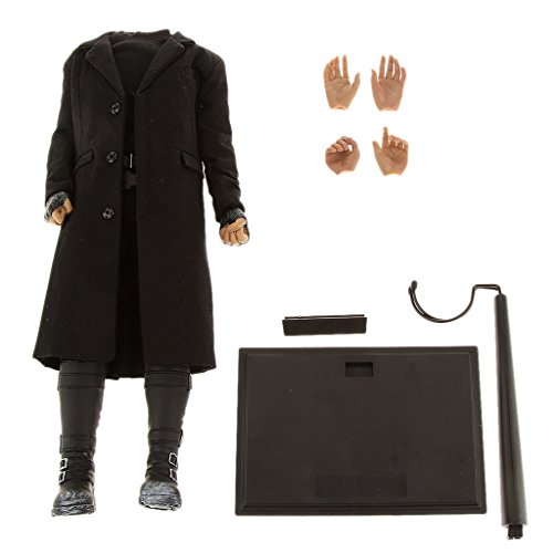 1/6 Scale Male Body Figure With Black Long Coat Pants Boots Extra Hands Display Stand fit Hot Toys Head Sculpt
