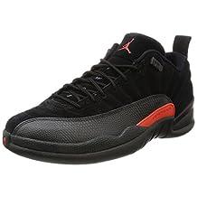 Jordan Men's Air 12 Retro Low, Black/Max Orange-Anthracite