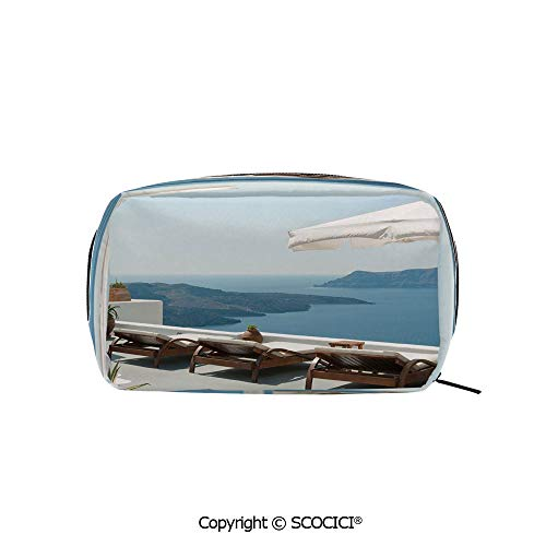Travel Cosmetic Bag Portable Makeup Pouch Sunbathing with Caldera View Terrace Santorini Aegean Greece Print makeup clutch for Girls Ladies Women