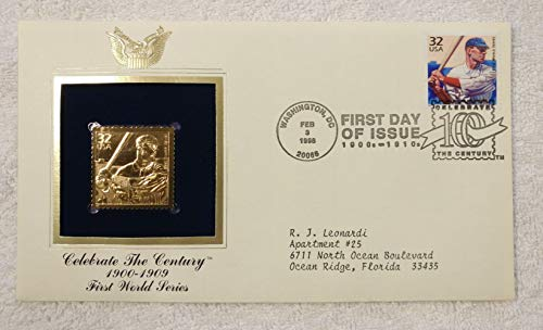The First World Series - Boston Pilgrims vs. Pittsburgh Pirates, 1903 - Celebrate the Century (The 1900s) - FDC & 22kt Gold Replica Stamp plus Info Card - Postal Commemorative Society, 1998 - Baseball