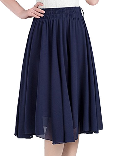 Helan Women's Chiffon Knee Length Pleated Skirts Navy US 0/4