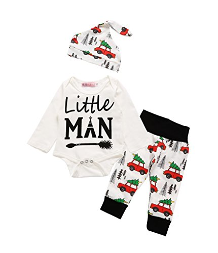 Price comparison product image Von kilizo 3Pcs Spring Baby Boys Clothing Little Man Print Outfits Rompers Clothes Set(6-12 Months)