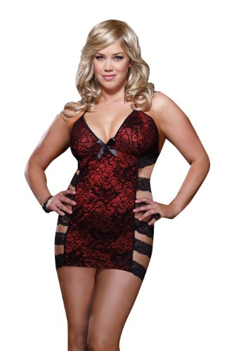Dreamgirl Women's Queen Size Flaunt It Chemise