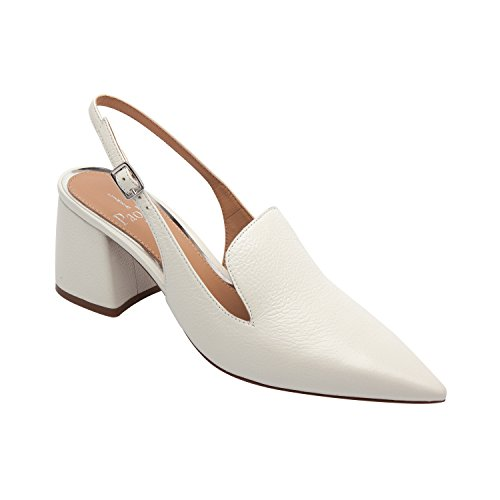 Linea Paolo Carly | Women's Pointy Toe Block Heel Leather Slingback (New Spring) Ivory Leather 6M (Patent Leather Slingback Wedges)