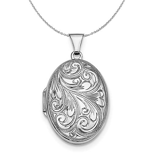 Sterling Silver 26mm Reversible Scroll Oval Locket Necklace - 20 Inch