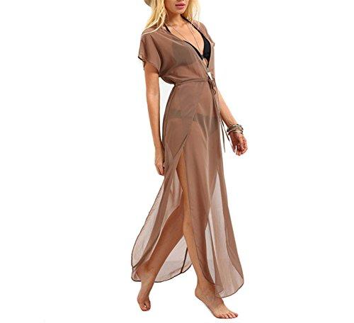 DiDi-Cut Fashion Ladies Brown Drawstring Waist V Neck Split Dresses Summer Beach Wear Short Sleeve Long Maxi (70s Dress Up Ideas)