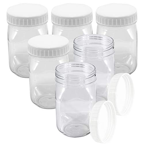 Upper Midland Products 16 oz Clear Plastic Jars 6 Pack Screw on Lids Wide Mouth BPA Free Storage Containers]()