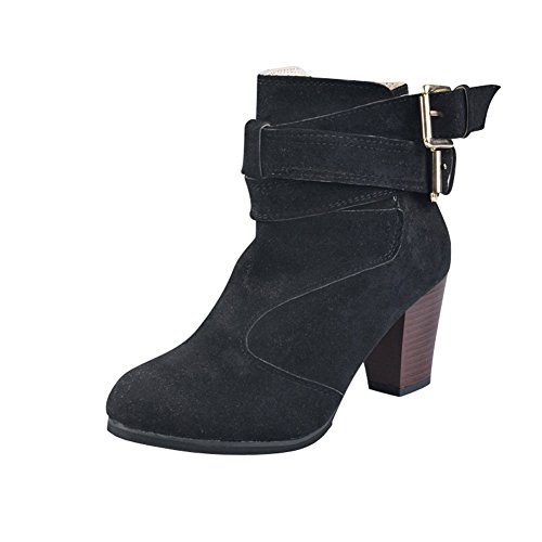 Boots Zipper Ladies Ankle Heel Black Womens Side Buckle Chunky Belt fereshte Metal Uvp1f