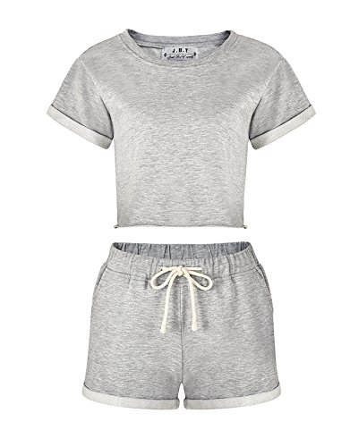 Upgrade Casual Crop Top and Short Set Short Sleeve Two Piece Soft Tracksuit with Pants (Grey, L) - 2 Piece Hoodie Set
