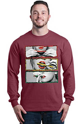 Shop4Ever Rasta Outline Smoking Blunt Men's Long Sleeve Shirt XXX-LargeMaroon ()