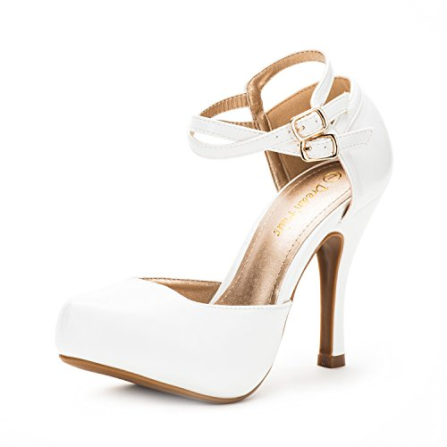DREAM PAIRS OFFICE-02 Women's Classy Mary Jane Double Ankle Strap Almond Toe High Heel Pumps New White PU Size 5.5