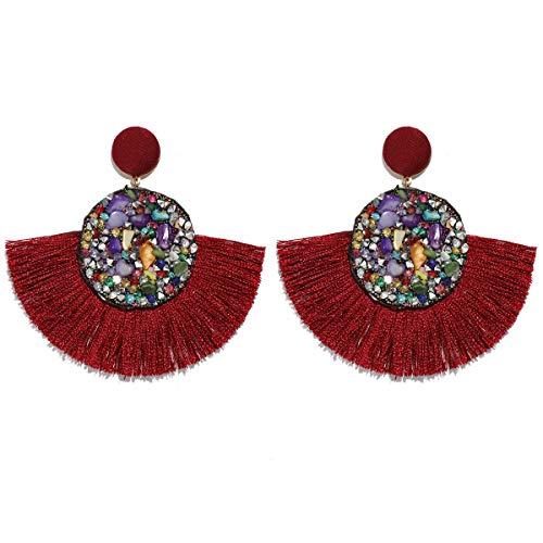 MOOCHI Burgundy Red Druzy Round Fan Tassel Handmade Thread Ear Drop Dangle Bohemian - Plated Tassel Gold