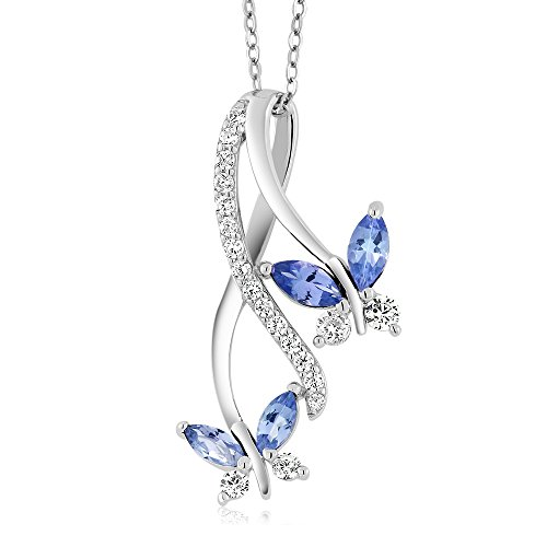 (Gem Stone King Blue Tanzanite 925 Sterling Silver Butterfly Infinity Pendant Necklace 1.21 Ct Marquise Cut Gemstone Birthstone with 18 Inch Silver Chain)