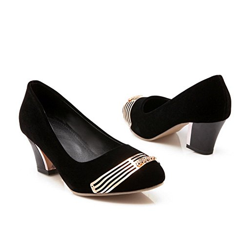 Balamasa Ladies Kitten-heels MetalornaHombrest Frosted Pumps-Zapatos Negro