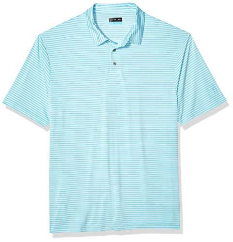 PGA TOUR Men's Short Sleeve Feeder Stripe Polo Shirt, Maui Blue, M