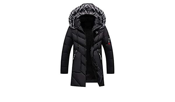 Hyvaluable Chaquetas de Pluma Chaqueta Acolchada de algod/ón Parka Winter Thicken Coat para Hombre con Capucha de Piel sint/ética