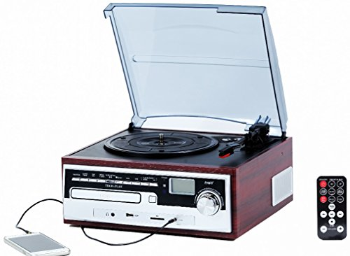 TechPlay ODC26WD 3 Speed Retro classic Turntable W/ CD plaer, MP3, AM/FM Radio, SD and USB slots. Builtin stereo speakers and Remote control