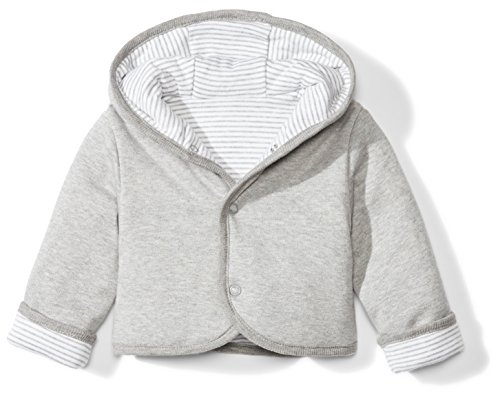 (Moon and Back Baby Reversible Jacket with Hood, Grey Heather, 3-6 Months)