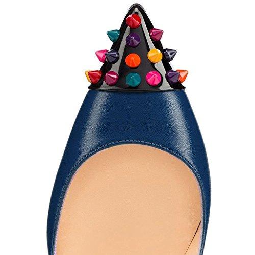 Kolnoo Damen Stiletto High Heel Pumps mit Nieten Party Schuhe Blau