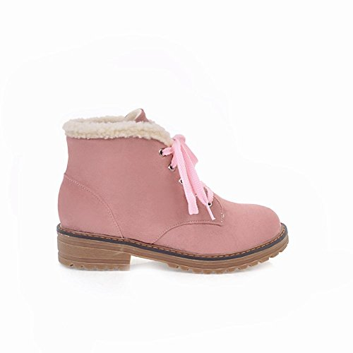 Charm Foot Womens Winter Lace Up Velvet Lining Low Heel Martin Boots Pink ueg05fZ
