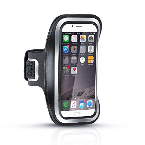 Arendo - Schweißbeständiges Fitness-Armband für Apple IPhone 6 / 6s | Wasserabweisend | mit Schlüsselfach | hoher Tragekomfort durch veränderbare Länge | inkl. Reflektorstreifen | Sportarmband in schwarz