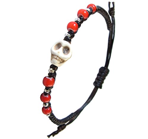LUN NA Asian Art Handmade Bracelet Fashion 925 Silver White Howlite Skull Black Red Wax String Thailand
